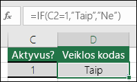 "Langelyje D2 yra formulė =IF(C2=1,""YES"",""NO"")"