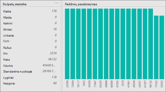 Stulpelių statistikos ir reikšmių paskirstymo rodiniai