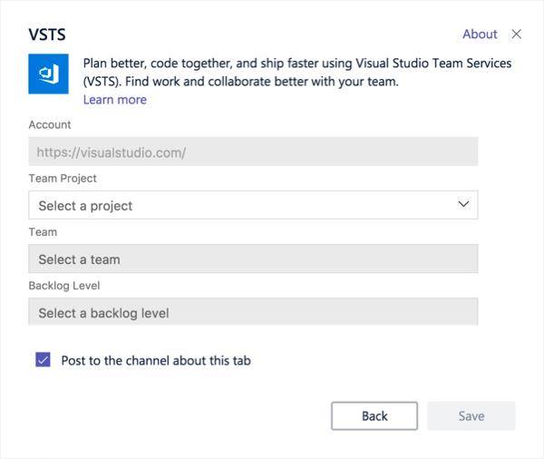 Visual Studio dialogo langas įtraukti Kanban lentos į skirtuką