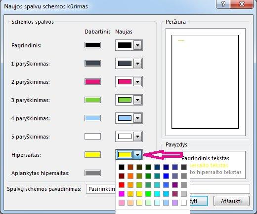 """Naujos """"Publisher"""" spalvų schemos kūrimas norint pakeisti hipersaitų spalvas"""