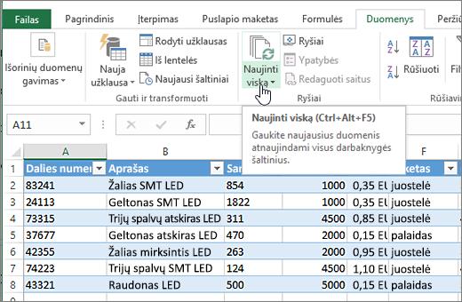 """Importuotas sąrašas ir atnaujinti viską pažymėto mygtuko """"Excel"""" skaičiuoklę."""