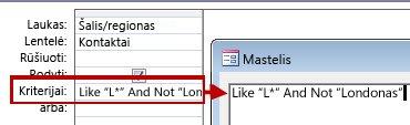 Užklausos dizaino vaizdas, kai naudojama NOT ir AND NOT su tekstu, kurio nenorite įtraukti į iešką