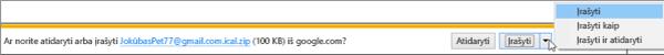 """Pasirinkite vietą, kurioje norite įrašyti eksportuotą """"Google"""" kalendorių."""