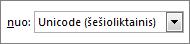 """Dialogo lange Simbolis pažymėtas laukas """"Unicode"""" (šešiol.)"""