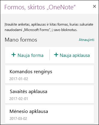 """""""OneNote"""" skydelio dalyje Formos pateikiamas formų ir apklausų sąrašas"""