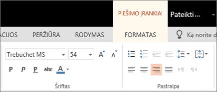Teksto formatavimas