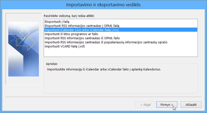 """Pasirinkite Importuoti """"iCalendar"""" arba """"vCalendar"""" failą."""