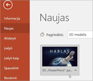 Rodomas 3D modelio šablonas pasirinkus Failas > Naujas