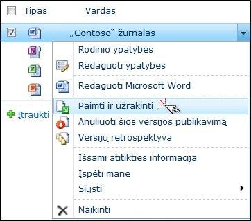 """Išplečiamasis programoje """"SharePoint"""" pasirinkto """"Word"""" failo sąrašas. Pažymėta parinktis Paimti ir užrakinti."""