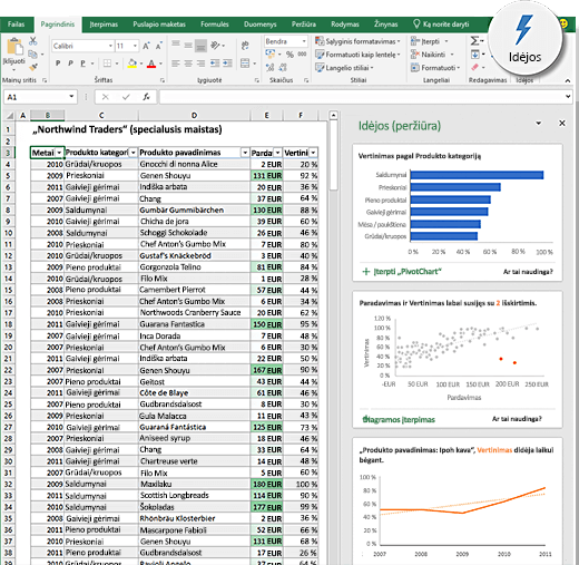 """Idėjos programoje """"Excel"""""""