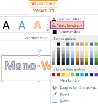 Teksto kontūro spalvų galerija skirtuke Piešimo įrankių formatas