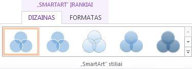 """Skirtuko Dizainas grupė """"SmartArt"""" stiliai dalyje """"SmartArt""""; įrankiai"""
