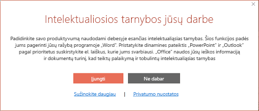 """""""Office"""" intelektualiųjų tarnybų sutikimo dialogo langas"""