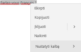 Pažymėtas tekstas prancūzų kalba ir kontekstinis meniu, kaip nustatyti kalbą.