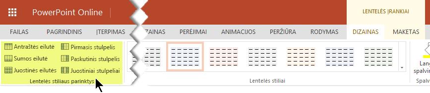 Galite įtraukti spalvinimo stilių į tam tikras lentelės eilutes arba stulpelius.