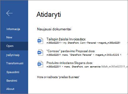 Žiniatinklio document_Word atidarymas