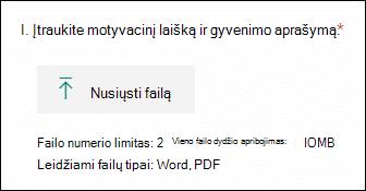 """Klausimas """"Microsoft Forms"""", leidžiantis nusiųsti failus"""