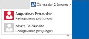 Išplečiamasis dialogo langas, kuriame rodoma, kas redaguoja dokumentą