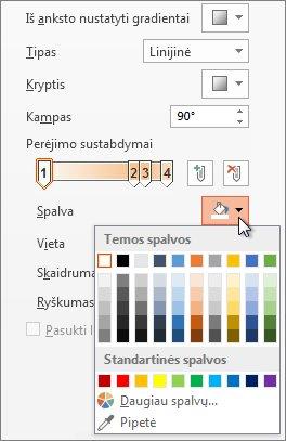 Kiekvieno perėjimo sustabdymo spalvos keitimas