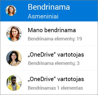 """Bendrai naudojamų failų peržiūra programoje """"OneDrive"""" skirta """"Android"""""""