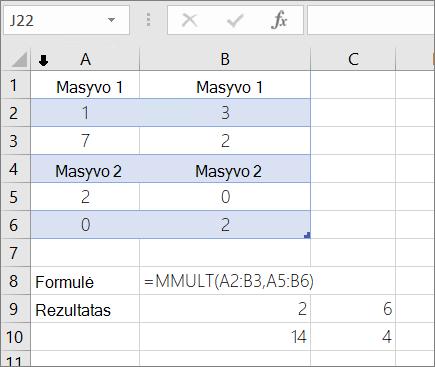 Funkcija MMULT – 1 pavyzdys
