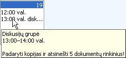 Paskyros informacijos išskleidžiamasis langas