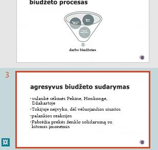 """Pataisymų paryškinimas """"PowerPoint"""" miniatiūrų srityje"""