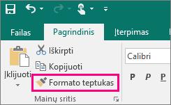 """Programoje """"Publisher"""" rodo formato kopijavimo priemonės mygtuką"""