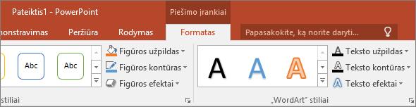 """Programos """"PowerPoint"""" juostelėje rodomas skirtukas Piešimo įrankiai"""