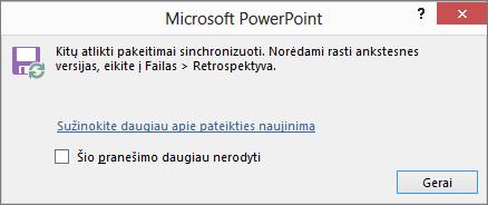 """Rodomas sinchronizuotų keitimų pranešimas programoje """"PowerPoint"""""""