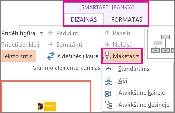 """""""SmartArt"""" organizacijos schemos maketų parinktys"""