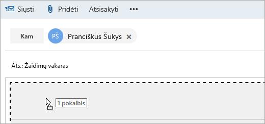 Į kūrimo sritį velkamo laiško ekrano nuotrauka