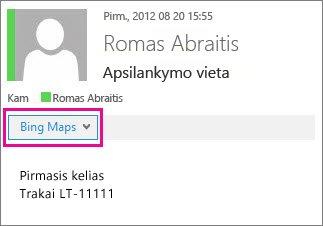 """""""Outlook"""" laiškas, kuriame rodoma taikomoji programa """"Bing"""" žemėlapiai"""