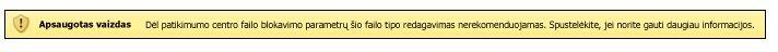 Apsaugotas rodinys dėl failų blokavimo, vartotojas gali redaguoti failą
