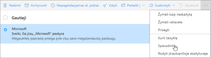 Ekrano kopijoje pavaizduota el. pašto pranešimo parinktis Spausdinti.