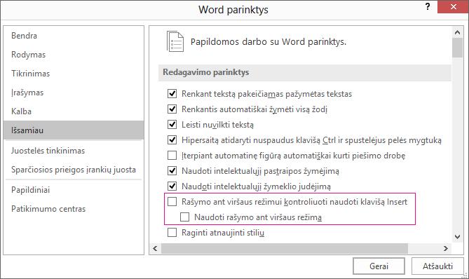 """Dalyje redagavimo parinktys išplėstinės """"Word"""" parinktys dialogo langas, naudokite žymės langelio rašymo ant viršaus režimą"""
