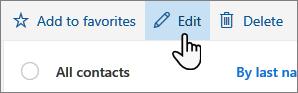Mygtuko Redaguoti kontaktą ekrano kopija