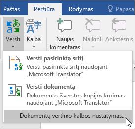 Vertimo meniu rodomas dokumento vertimo kalbos nustatymas