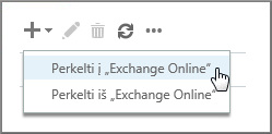 """Pasirinkite Perkelti į """"Exchange Online"""""""