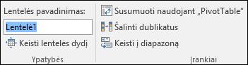 """Pavadinimo langas, """"Excel"""" formulės juostoje pervadinti lentelę, vaizdas"""