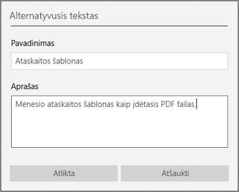 """Alternatyviojo teksto įtraukimas į įdėtuosius failus programoje """"OneNote"""", skirtoje """"Windows 10"""""""