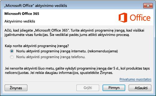 """Rodomas aktyvinimo vediklis, skirtas """"Office 365"""""""