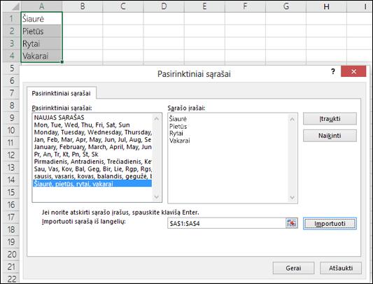"""Pasirinktinio sąrašo dialogo langas iš Failas > Parinktys > Išplėstinės > Bendra > Redaguoti pasirinktinius sąrašus. Jei naudojate """"Excel 2007"""", spustelėkite mygtuką """"Office"""" > """"Excel"""" parinktys > Populiaru > Reaguoti pasirinktinius sąrašus."""
