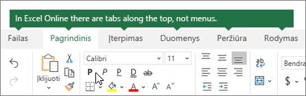 """Pagrindinis, įterpimas, duomenys, skirtukų peržiūra """"Excel Online"""""""