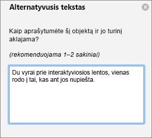 """Alternatyviojo teksto sritis alternatyviojo teksto įtraukimas į vaizdą programoje """"Outlook"""""""