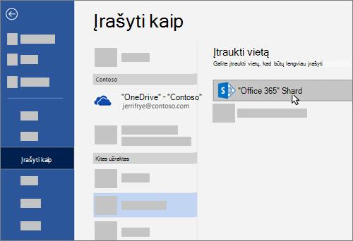 """""""OneDrive"""" verslui įtraukimas kaip įrašymo vietos """"Word"""""""