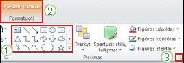 """Kelių kitų """"PowerPoint 2010"""" juostelės funkcijų pavyzdys."""