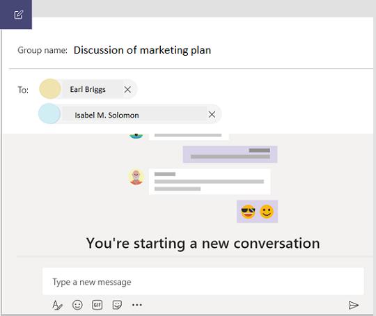 """Naujas grupinių pokalbių pokalbis programoje """"teams""""."""