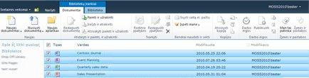 """""""SharePoint"""" dokumentų biblioteka, kurioje keli failai pažymėti paimti ir užrakinti"""