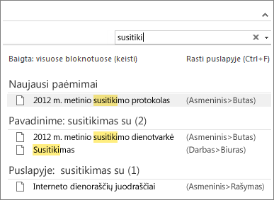 """Naudokite funkciją Ieška ir ieškokite visuose """"OneNote"""" bloknotuose."""